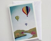 Hot Air Balloon Blank Note Card with Envelope