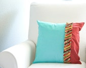 Red/Aqua Ruffle Throw Pillow Cover