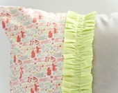 Girly, Teeny Tiny 2D Zoo Ruffle Pillow Cover
