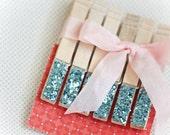 Light Blue Glitter Sparkle Clothespins, Set of 6