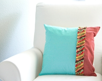 SALE - Red/Aqua Ruffle Throw Pillow Cover