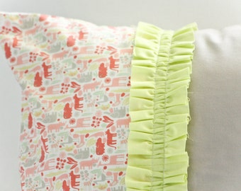 SALE - Girly, Teeny Tiny 2D Zoo Ruffle Pillow Cover