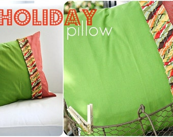 SALE - Holiday Ruffles Throw Pillow Cover