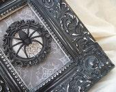 Framed Victorian Gothic Spider /  signed ooak  / heavy frame