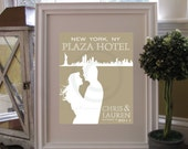 Personalized Wedding & Skyline Silhouette Print // Wedding Keepsake Art Print // Style: Uptown // W-G04-1PS HH6