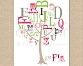 Alphabet Tree, ABC Nursery Art, Baby Girl Nursery, Alphabet Art, Baby Shower Gift // Choose Art Print or Canvas // N-G49-1PS AA1