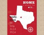 Home is where the heart is // Custom State Latitude Longitude Art Print or Canvas Print // Choose your state // H-L06-1PS HH1