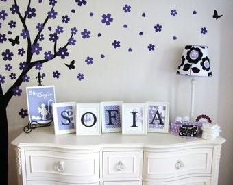 Wall Letters, Name Art Prints // Sofia Fresh Floral // Style- WE PRINT // N-P06 AA2