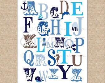Nautical ABC Print, ABC nursery print, Alphabet art // Art or Canvas Print for Nautical Nursery / Child's Room // N-G45-1PS AA1