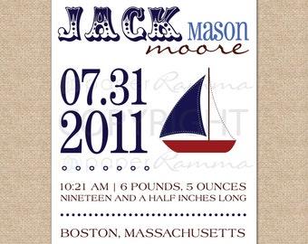 Nautical Birth Announcement Art Print, Sailboat // N-B04-1PS AA6