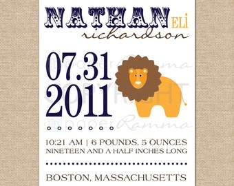 Personalized Birth Announcement Art Print, Style: Lion - N-B04-1PS AA6