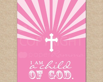 I am a child of God //  Archival Giclee Art Print for Nursery / Child's Room // N-G36-1PS-O AA1