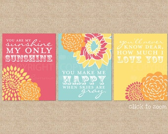 You are My Sunshine Nursery / Kids Room Giclée Art Prints, 3 Print Set, Custom match colors to your nursery/room // N-G03-3PS AA1