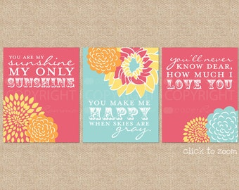 You are My Sunshine Nursery/Kids Room Art Prints // 3 Print Set // Custom match colors to a room, Style: Blooms & Sunshine // N-G03-3PS AA1