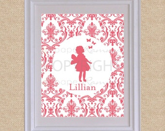 Personalized Silhouette Print // Style: My Name, Damask // N-S05-1PS-O QQ6