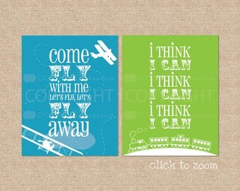 Airplane & Train Art Print Set // Archival Giclee Art Prints for Nursery/Child's Room/Playroom //Custom colors to your room // N-G64-2PS AA1