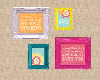 You are My Sunshine Nursery / Kids Room Giclée Art Prints // 4 Print Gallery Set // Custom match colors to your nursery/room // N-G27 AA1