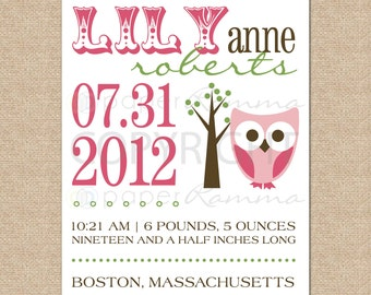 Personalized Birth Announcement Print - OWL // Archival Giclée Art Print for Nursery or Child's Room // N-B04-1PS AA6