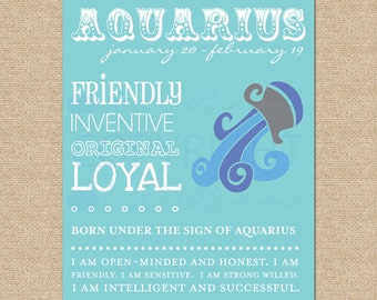 AQUARIUS Zodiac Nursery / Kids Room Art Print // N-Z04-1PS-O AA1