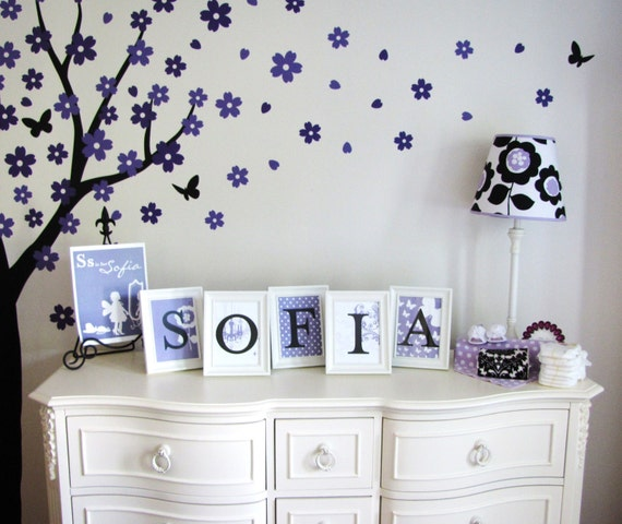 Diy Wall Art Name : Sofia fresh floral diy file wall letters name art prints