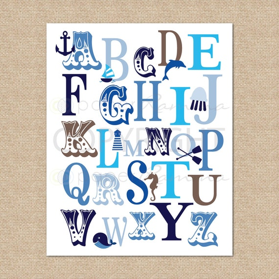 ABC Typography Print Ocean Nautical // Archival Giclee Art Print for Nursery / Child's Room // N-G45-1PS AA1