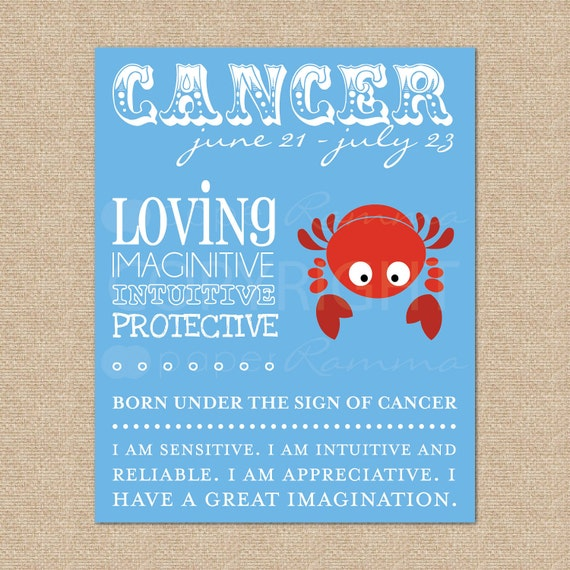 Zodiac Art Print, Cancer // Archival Giclee Art Print for Nursery / Child's Room // N-Z04-1PS AA1
