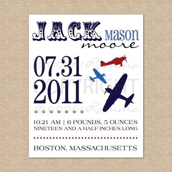 Personalized Birth Announcement Art Print, Style: Airplane // N-B04-1PS AA6