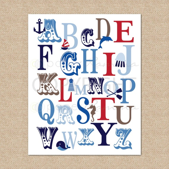 ABC Typography Art Print Ocean Nautical, RWB // Giclée Art Print for Nursery / Child's Room // N-G45-1PS AA1