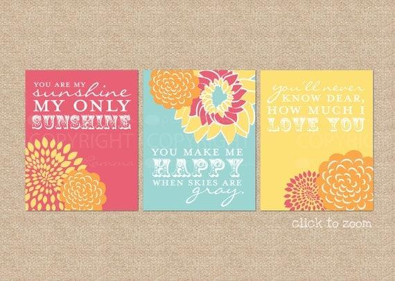 RESERVED for Juliann - You are My Sunshine Nursery / Kids Room Giclée Art Prints, 3 Print Set, NOTES: 11x14 prints