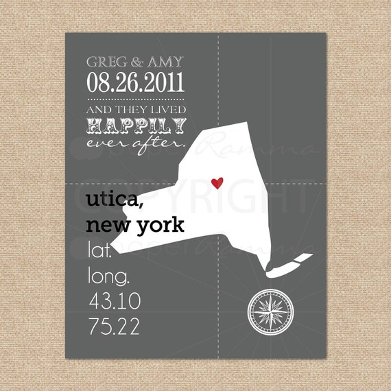And they lived happily ever after, Custom State Latitude Longitude Art Print // Choose your state // Art Print or Canvas // H-L06-1PS HH1