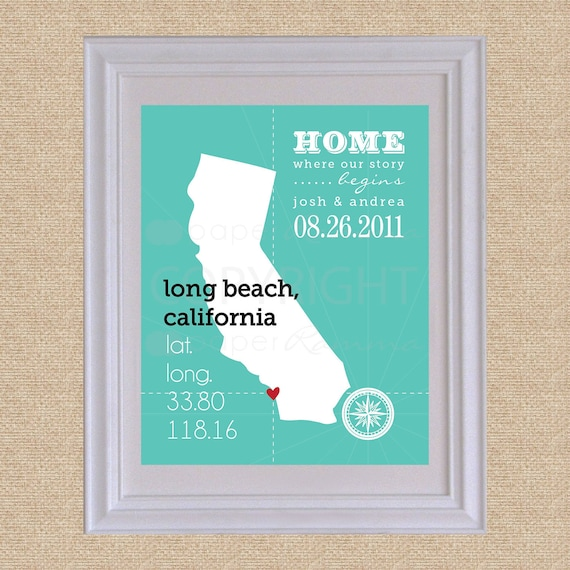 Custom State Latitude Longitude Art Print, Home is where our story begins, Choose your state, Archival Print or Canvas // H-L06-1PS HH1