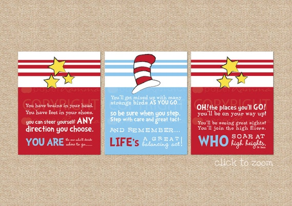 Dr. Seuss Quote, A Paperramma exclusive: You are Life's Who // Nursery / Kids Room Giclée Art Prints // 3 Print Set // N-G39-3PS