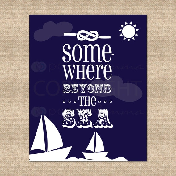 Somewhere Beyond the Sea... Sailboat Art Print // Archival Giclee Art Print for Playroom / Nursery / Child's Room // N-G63-1PS-O AA1