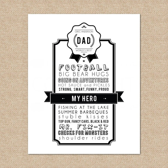 Personalized Dad Award Art Print // Father's Day // Choice of print Size & Type // H-G14-1PS AA2
