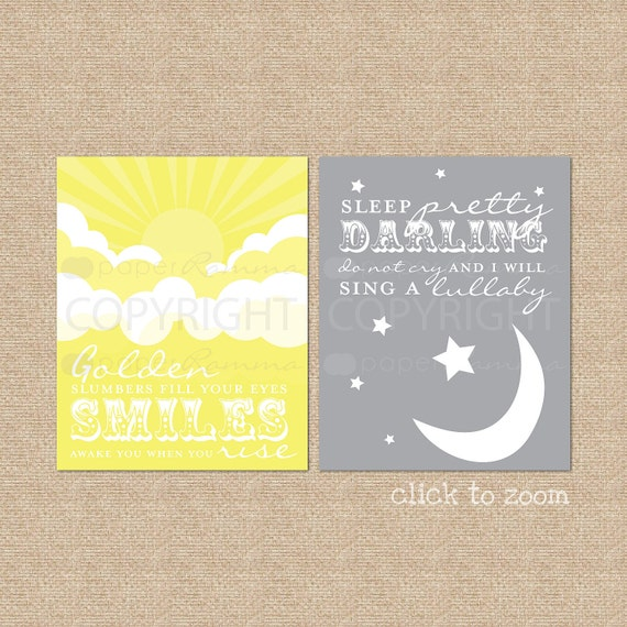 Beatles Golden Slumbers Lyric Art Prints // Set of 2 Art Prints, Nursery // Abbey Road Album // Choose your colors // N-G04-2PS AA1