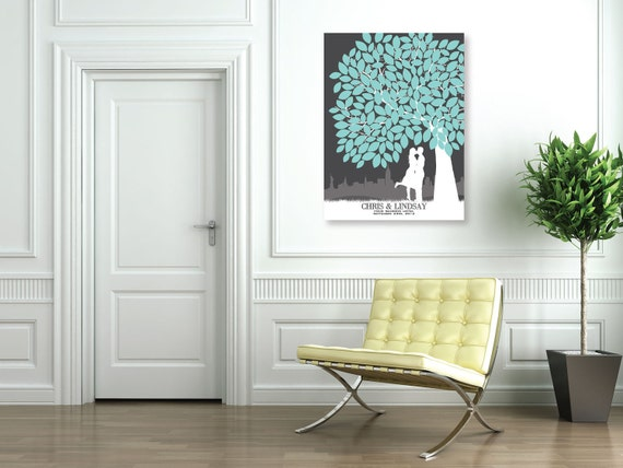 Personalized Wedding Tree Signature Guestbook // Personalized Skyline & Silhouette Keepsake // 100+ Signatures // W-T05-1PS HH3