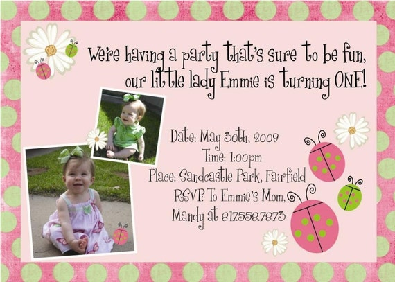 Our Little Lady - Lady Bug Invite - A Custom Birthday Invitation \/ Announcement for any Age-.-.-Click to Enlarge Thumbnail-.-.-