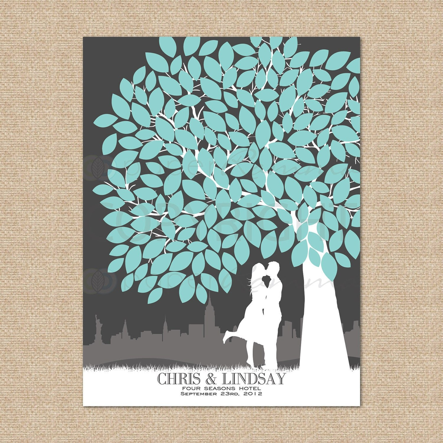 Wedding Guest Signing Tree: Wedding Tree Guestbook // A Personalized Skyline & Couple