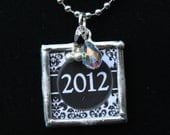 Graduation Necklace - Personalized present for 2012 Grad - Charm with 2012 on one side & initial on the reverse - with Swarovski Crystals