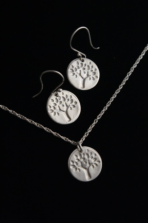 Tree of Life Necklace and Earring Set - Fine Silver - ME Designs
