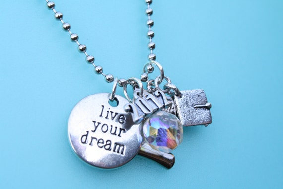 "Graduation Necklace, ""Live Your Dream"" - present for 2012 Grad - Charm necklace with cap, diploma, crystal, '2012' & disk"