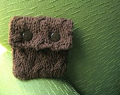 Mini Knit Coin Pouch Cable Knit in Chocolate Brown