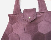 Corduroy Purse Hexagon Modern Patchwork Bag in Burgundy Corduroy with Green Damask Lining