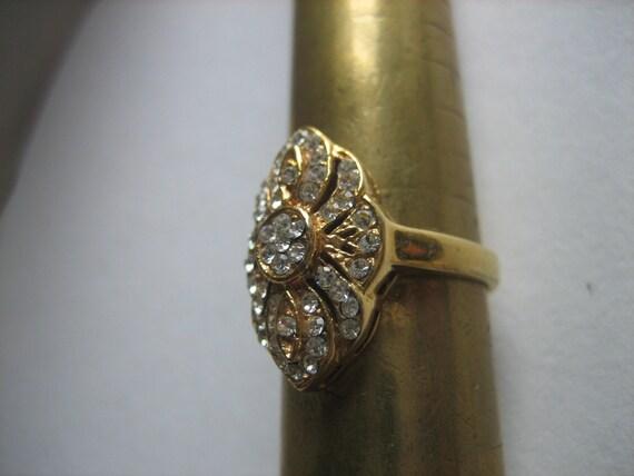 Vintage Gold DAC ART NOUVEAU Rhinestone Ring