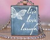 FREE SHIPPING - LIVE LOVE LAUGH sky blue - Scrabble Tile Pendant ... PrettyWhimsical