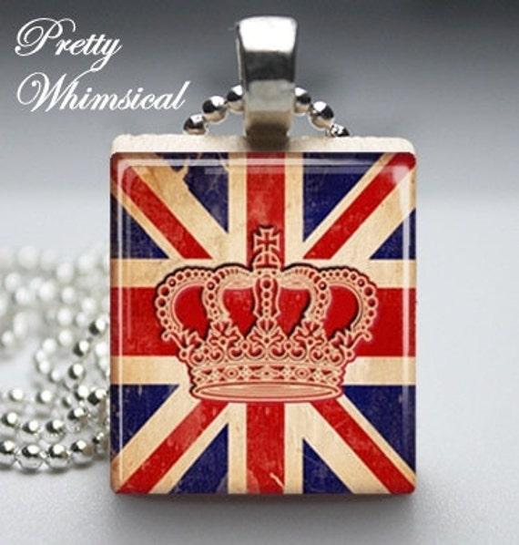 British Crown Union Jack Flag - Scrabble Tile Pendant Jewelry