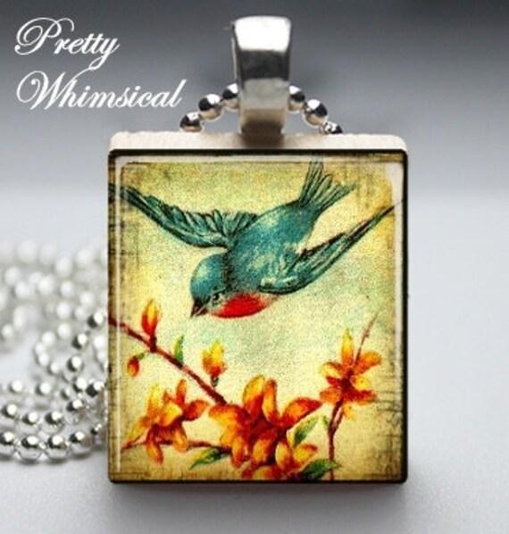 Vintage Bluebird - Scrabble Tile Pendant Jewelry