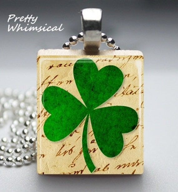 Shamrock green lucky charm - Scrabble Tile Pendant Jewelry