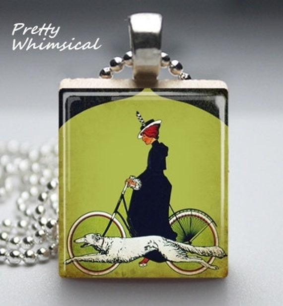 Greyhound Woman Bicycle art deco - Scrabble Tile Pendant