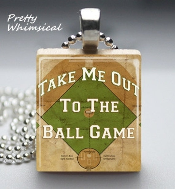 Scrabble Tile Jewelry BASEBALL Song game sports Scrabble Tile Pendant
